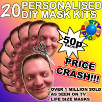 20 x PERSONALISED PHOTO FACE MASK KITS FOR STAG & HEN NIGHT AND BIRTHDAY PARTY