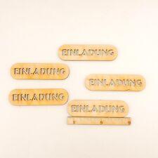 """5 Stück Holzschilder mit Schriftzug """"Einladung"""" 9cm Einladung Karten"""