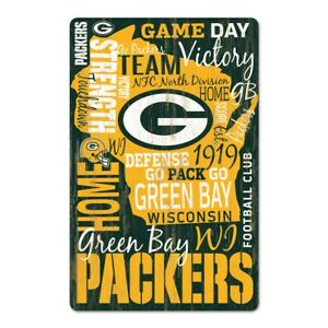 """GREEN BAY PACKERS GO PACK GO WORDAGE WOOD SIGN 11""""X17'' NEW WINCRAFT"""