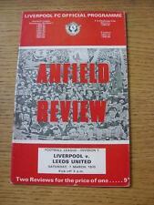 07/03/1970 Liverpool V Leeds United (leggera piega, piccolo segno di penna sul retro)