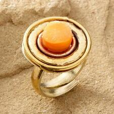 New Tara Mesa Yellow Drusy Quartz Medallion Ring ~ Size 7 Adjustable