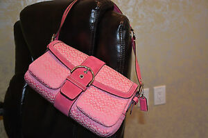 "Coach Shoulder Satchel Handbag Soho Hobo 11"" Purse Signature Pink K04u-1463"