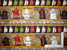 Coffee Pot Cup Beans Kitchen Border Stripe Cotton Fabric QT Daily Grind - Yard