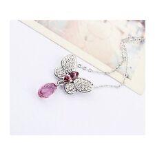 18K White Gold GP Made With Swarovski Crystal Butterfly Teardrop Purple Necklace