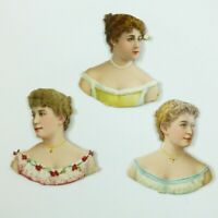 Antique L&B Die Cut Victorian Scrap Paper Dolls Bloomer Lady Head Busts 1890