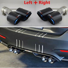 2xGlossy Carbon Fiber Car SUV Dual Exhaust Pipe Tail Muffler Tip Chrome Blue L+R