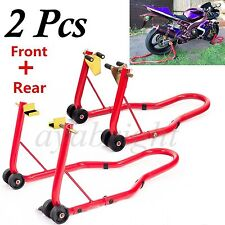 Combo Pair Front & Rear Motorcycle Motorbike Bike Paddock Wheel Stand Lifter SY