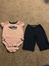 Carters Infant Boys Blue Orange Giggle Worm Outfit 6 Months