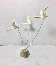 3 Vintage Masketeers Flying Geese Ducks Art Statue