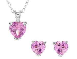 Created Pink Sapphire Heart Earrings & Pendant in Silver w/ Chain