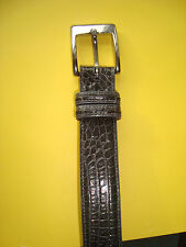 LAI Gray Alligator Silver Toned Brass Hardware Buckled Belt Sz S Made in Italy
