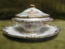 soupière de dinette décor floral porcelaine de Limoges (miniature soup tureen)