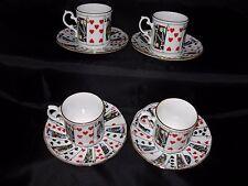"Vtg ELIZABETHAN STAFFORDSHIRE Bone China SET 4 CUPS & SAUCERS ""Cut for Coffee"""