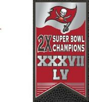 TAMPA BAY BUCCANEERS 2X SUPER BOWL CHAMPIONS BANNER PIN XXXVII (37) & LV (55)