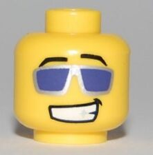 LEGO - Head Glasses with Purple Sunglasses with Silver Frames, Grin - Yellow