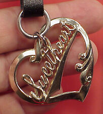 Vintage 2in Heart Sweetheart Valentines Day Pocket Watch Fob Key chain Gift