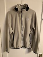 The North Face Mens Fleece Full Zip Up Jacket Sz L Beige Black EUC Warm Coat