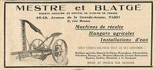 W5599 MESTRE & BLATGE machines de récolte, hangars agricoles - Pubblicità 1929