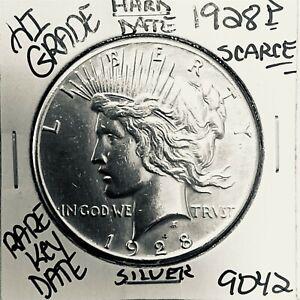 1928 PEACE SILVER DOLLAR HI GRADE GENUINE U.S. MINT RARE KEY COIN 9042