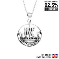 925 Sterling Silver Norse Viking Long Boat Ship Pendant Necklace✔️Quality✔️Solid