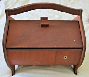 Vintage 1960s Danish Modern Curved Wood Sewing Box