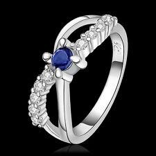 Wedding Jewelry 925Sterling Silver Blue Zircon Creative X Women Ring #8 R462X