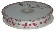 Bertie's Bows Folk Birds with Hearts Print Grosgrain Ribbon 1m16mm Red Cream