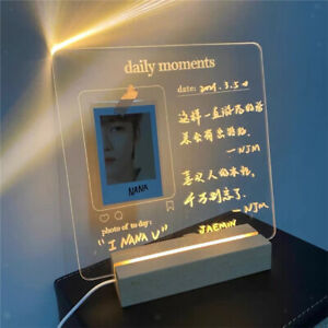 USB Acrylic Daily Moments Photo Memo Message Board with Wood Stand Holder Lamp