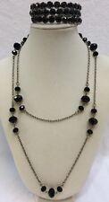 Black Wrap Bracelet & Necklace Silver Tone Faceted Faux Onyx  Lot of 2