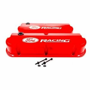 Proform 302-143 Valve Covers Slant Edge Tall Die Cast Red For SB Ford NEW