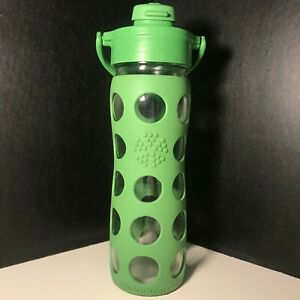 LifeFactory Glass Water Bottle w Handle & Green Silicone Sleeve - Measurements