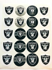"SET of 40- 2"" OAKLAND RAIDERS Adhesive Stickers. Make Cupcake Toppers"