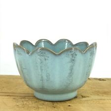 AN ANTIQUE VINTAGE CHINESE COLLECTION BLUE GLAZED PORCELAIN BRUSH WASHER LOTUS