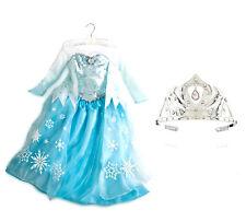 New! Disney Store AUTHENTIC Frozen ELSA Costume Dress Size 7/8 and Tiara Crown