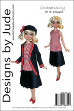 "Contemporary Doll Clothes Sewing Pattern for 16"" Ellowyne Dolls Tonner"