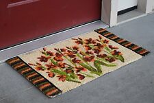 """Vinyl Backed Wild Flowers Printed Coco Doormat 0.5"""" Thick - 18 by 30-Inch"""