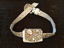 Michael Morrison MX White Bejeweled Gold Studded Rhinestone Belt And Pouch