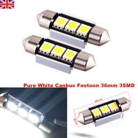 36MM 3SMD 5050 C5W LED Car Light CANBUS NO ERROR Bulbs Plate Dome Festoon White