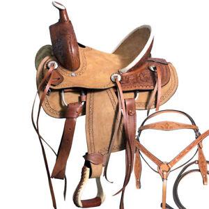 C-8-10 10 Kids Youth Children Miniature Pony Saddle Leather Trail Western Tack
