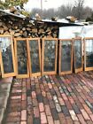 SMG 2786 set of 7 antique Beveled glass leaded Oak Cabinet Doors 14 x 42