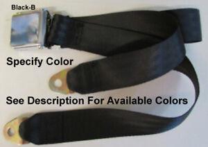 """Retro Vintage 2 Point Seatbelt Chrome Lift Lap Seat Belt - Specify Color - 60"""""""