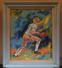Vintage Mid Century Modern Art NFL FOOTBALL Player Framed Painting Canvas 26x30