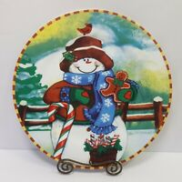 Decorative Snowman Plate Christmas Holiday 10.5 Inches Diameter Colorful Festive