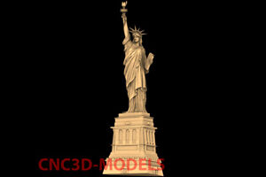 3D Model CNC Router STL File Artcam Aspire Vcarve Statue of Liberty NYC PK118