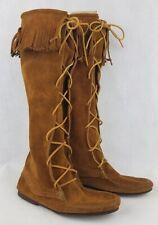 """Minnetonka Sz 7 Brown Suede Single Fringe Tassel Moccasin Women's Boots 12"""" EUC"""