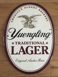 Oval Yuengling America's Oldest Brewery Embossed Beer Metal Tacker Sign Mint!