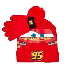 CARS LIGHTNING McQUEEN DISNEY Knit Winter Beanie Hat & Gloves Set w/ Pom-Pom $25