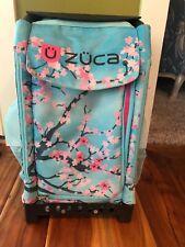Zuca Bag Black Frame Insert Light Up Wheels Blue Tree Print.