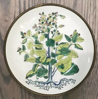 Vintage Flowering Tree Bowl * Porcelain Encased In Brass * Hand Decorated *