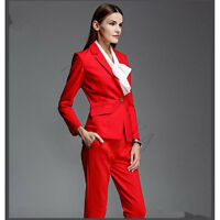 Red Women Business Suits Female Trouser Suits Formal Ladies Prom 2 Piece Sets